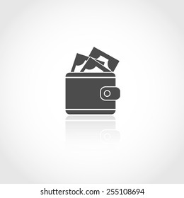 Wallet with money vector icon. Financial earning concept.
