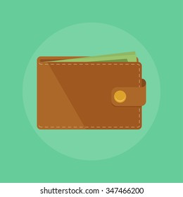 Wallet with money vector illustration. Wallet isolated on colored background.