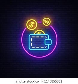 Wallet Neon Logo Vector. Coin purse neon sign, design template, modern trend design, casino neon signboard, night bright advertising, light banner, light art. Vector illustration