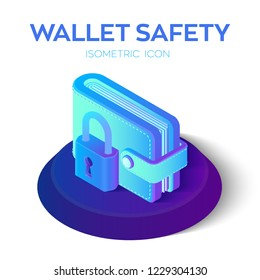 Wallet with padlock Icon. 3D Isometric Protect Wallet Icon. Private secure. Protect Savings, Safety, Economy Concept. Financial security in cashless and cash settlements. Vector Illustration.