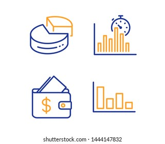 Wallet, Pie chart and Report timer icons simple set. Histogram sign. Affordability, 3d graph, Growth chart. Economic trend. Finance set. Linear wallet icon. Colorful design set. Vector