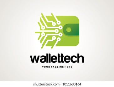 Wallet Tech Logo Template Design Vector, Emblem, Design Concept, Creative Symbol, Icon