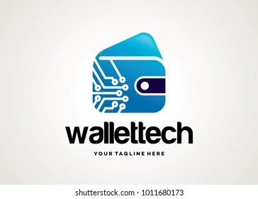 Wallet Tech Logo Template Design Vector, Emblem, Design Concept, Creative Symbol, Icon