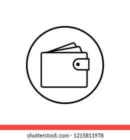 Wallet vector icon, cash symbol. Simple, flat design for web or mobile app