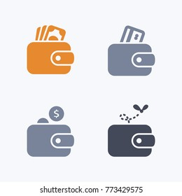 Wallets - Carbon Icons. A set of 4 professional, pixel-aligned icons.