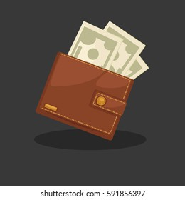 Wallets with money shopping. Purse with cash. Business and finance symbol. Vector illustration in cartoon style. Isolated on black background