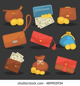 Wallets purse money Icons set of wallets with money shopping. Purse with cash. Business and finance symbols. wallets purse money Vector illustration in cartoon style. Isolated on black background