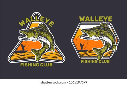 walleye fishing club, walleye jump on the water catching by man on kayak fishing
