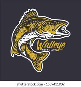 walleye fishing club logo illustration in black background