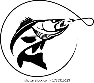 Walleye logo. A unique walleye jumping out of the water to catch a flies.