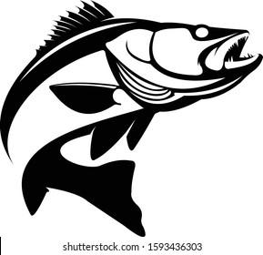 Walleye / Zande fish logo. Walleye fish fishing emblem for sport club. Walleye fishing background theme vector illustration.