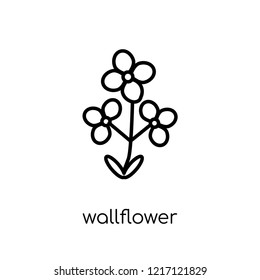 Wallflower icon. Trendy modern flat linear vector Wallflower icon on white background from thin line nature collection, editable outline stroke vector illustration