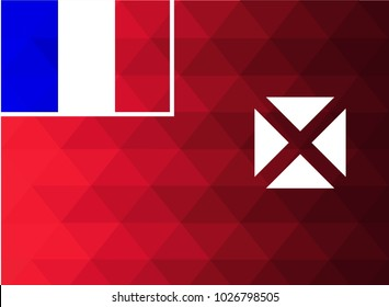 Wallis and Futuna Flag vector illustration. Wallis and Futuna Flag. National Flag of Wallis and Futuna. Mosaic flag. Vector