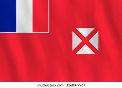Wallis and Futuna flag with waving effect, official proportion.