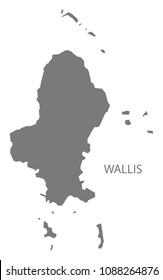 Wallis map of Wallis and Futuna grey illustration shape