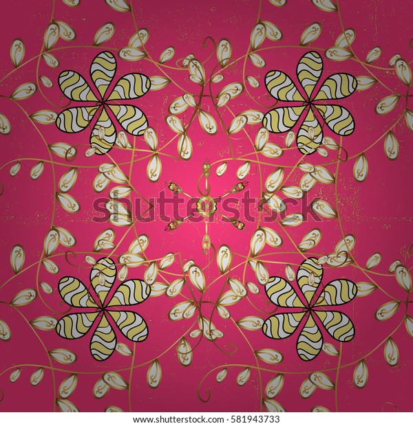 Wallpaper baroque, damask. Stylish graphic pattern. Floral pattern. Vector background. Golden elements on pink background.