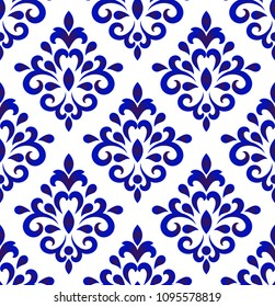 Wallpaper in baroque style, Damask floral background, flower ornament, blue and white vases, simple decoration art, ceramic tile pattern seamless, Chinese machine, vector illustration