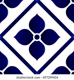 Wallpaper in baroque style Damask floral background, flower ornament, blue and white vases, simple decoration art, ceramic tile pattern seamless vector, Chinese machine