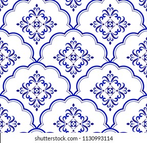 Wallpaper Baroque style, seamless blue and white damask pattern, floral ceramic decorative victorian background for design, porcelain, tile, texture, fabric and silk, vector illustration