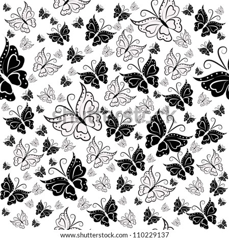 Wall Paper From Black And White Butterflies On A Background
