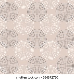Wallpaper with circles of dots. Abstract illusion.