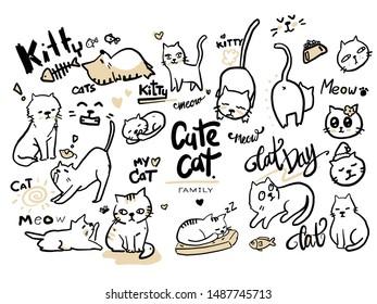Wallpaper cute cats for graphic design
