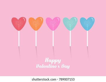 Wallpaper design with colorful heart lollipop for Valentine's day. Valentine's day vector design.