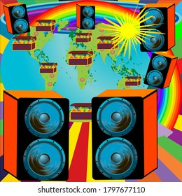 Wallpaper design for the party with speakers Earth tresure chest and rainbow; vector background