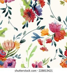 wallpaper, flowers, watercolor