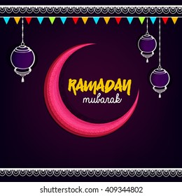 Wallpaper greeting card design with elegant moon and hanging lamps showing celebration for Islamic holy month Ramadan Kareem.