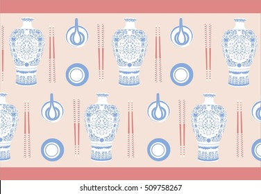 Wallpaper with a group of chinese porcelain objects