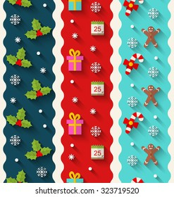 Wallpaper Illustration with Traditional Colorful Elements for Christmas and Happy New Year - Vector