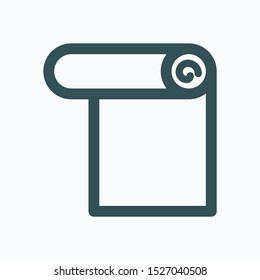 Wallpaper isolated icon, roll of wallpaper buildings linear vector icon