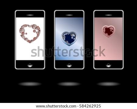 Wallpaper Mobile Theme Mobile Screen Saver Stock Vector Royalty