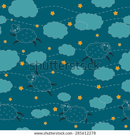 Wallpaper For The Nursery Pajamas With Sheep Seamless Pattern Vector