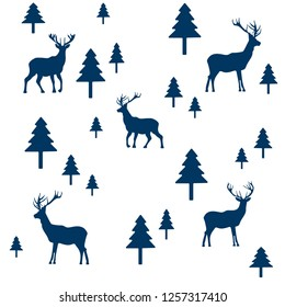 wallpaper with a pattern of deer and trees