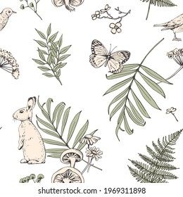 Wallpaper seamless pattern. Bunny, bird, butterfly and forest  nature herbarium elements. Textile composition, hand drawn style print. Vector illustration.