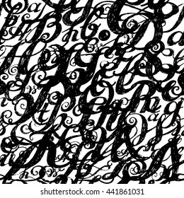 Wallpaper seamless pattern. Calligraphy alphabet typeset lettering. Large Letters. Hand drawn construction sketch of ABC letters in old fashion vintage style.