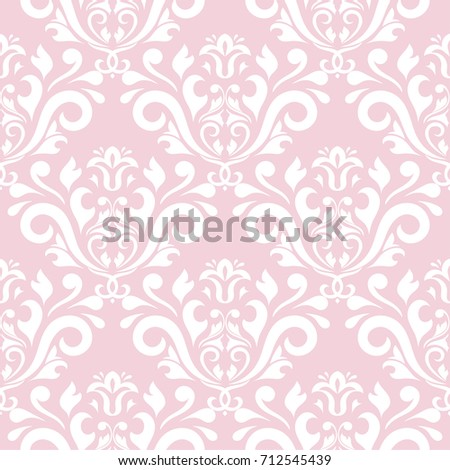 Wallpaper Seamless Pattern Ornamental Pale Pink Background With White Ornaments Vector Illustration