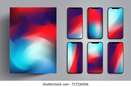 Wallpaper for smartphone or tablet for a background or cover with colorful soft waves or mountains. Modern progressive design template. Vector illustration. EPS 10