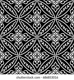 Wallpaper in the style of Baroque. A seamless background. Black and white Floral ornament.