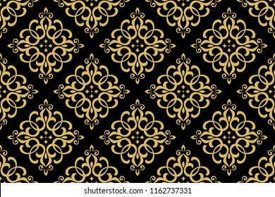Wallpaper in the style of Baroque. Seamless vector background. Gold and black floral ornament. Graphic pattern for fabric, wallpaper, packaging. Ornate Damask flower ornament