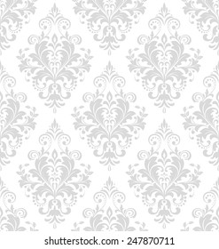 Wallpaper in the style of Baroque. A seamless vector background. Gray and white floral ornament. Damask pattern.