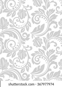 Wallpaper in the style of Baroque. A seamless vector background. Gray and white texture. Floral ornament.