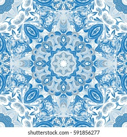 Wallpaper in the style of Baroque. A seamless vector background. Damask floral pattern. Blue tile.