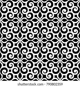 Wallpaper in the style of Baroque. A seamless vector background. Black and white texture. Floral ornament. Graphic vector pattern.