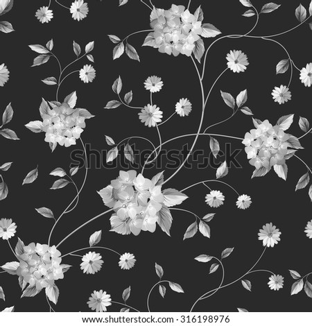 Wallpaper Texture Seamless Floral Background Shabby Chic Style Patterns With Blooming Flowers Vector