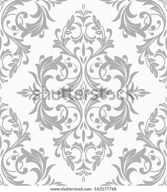 Wallpaper Tile Style Baroque Seamless Vector Royalty Free