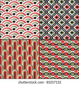 Wallpaper traditional seamless pattern asian set  Japanese oriental