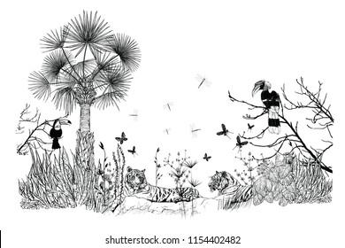 Wallpaper of a tropical landscape - vector illustration